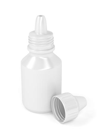 Eye drops bottle on white background photo