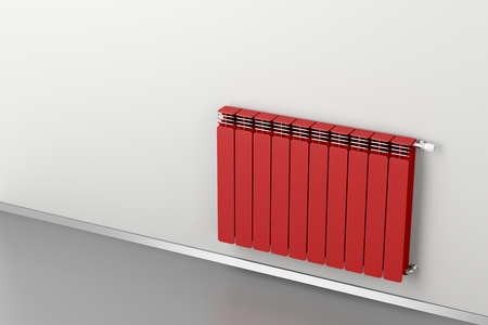 convection: Red heating radiator attached on grey wall
