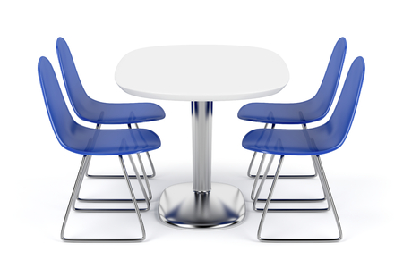Dining table and chairs on white background photo