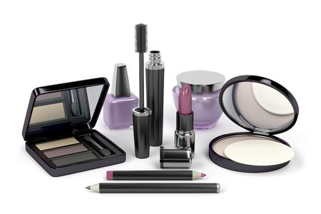 shadow face: Makeup and cosmetic set with: eye shadow, face powder, lipstick, mascara, nail polish, cream, eye and lip liners