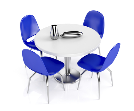 dining table and chairs: Round dining table and blue plastic chairs on white background