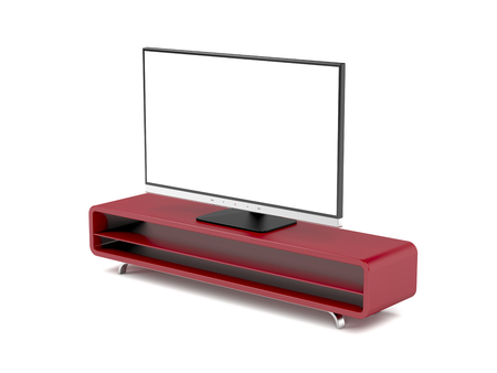 Tv with stand on white background Standard-Bild