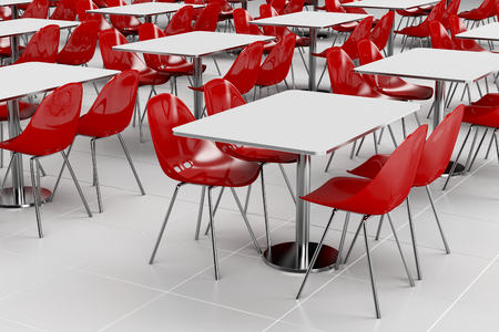 Empty cafeteria with modern minimalistic furniture photo