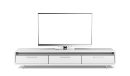 Flat screen tv on modern tv stand Standard-Bild