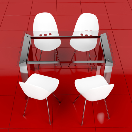 dining table and chairs: Dining set with modern glass table and white minimalistic plastic chairs Stock Photo