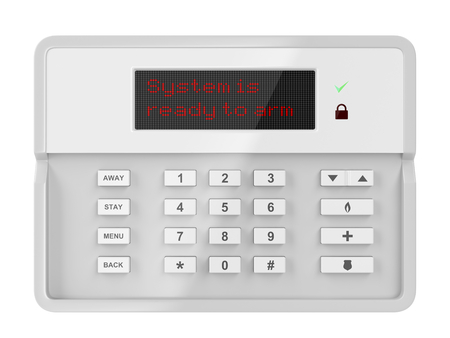 intruder: Alarm control panel isolated on white background