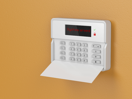 Home security alarm system on a wall Standard-Bild