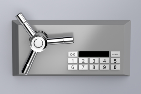 closed lock: Bank safe with digital lock Stock Photo