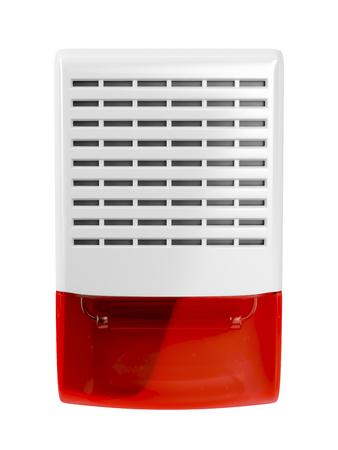 Alarm siren with flash light isolated on white photo