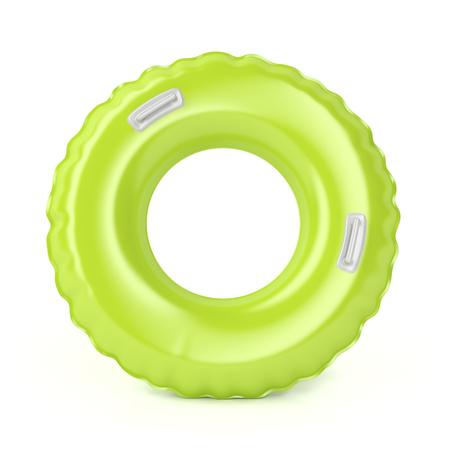 白い背景の上のハンドルを持つ緑の水泳リング
