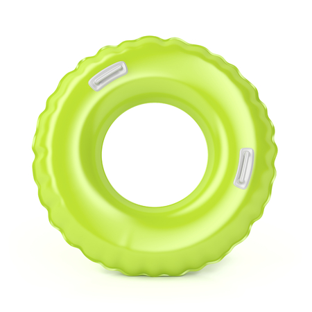 swimming to float: Green swim ring with handles on white background