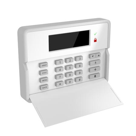 白い背景に分離された警報制御盤
