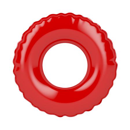흰색에 고립 된 빨간색 수영 반지