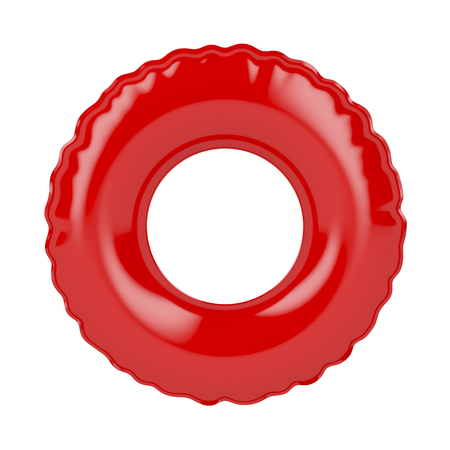 swimming to float: Red swim ring isolated on white