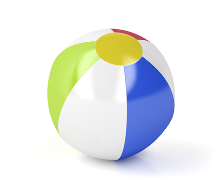 3d ball: Beach ball on white background Stock Photo