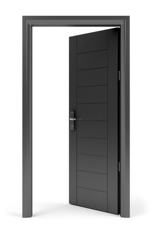 black and white lock: Black opened door with electronic keycard lock on white background Stock Photo