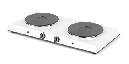 double oven: Double hot plate on white background
