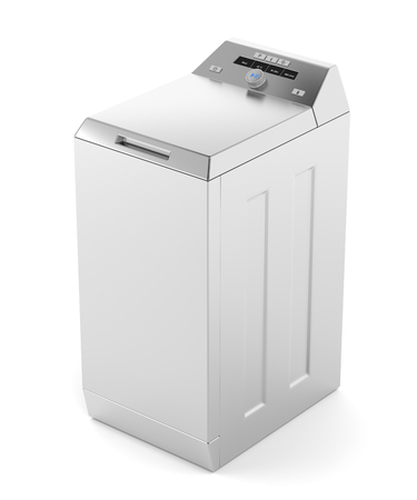 Silver top load washing machine on white background