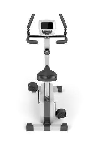 stationary bicycle: Stationary bicycle on white background, back view Stock Photo