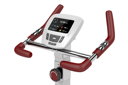 elapsed: LCD display of exercise bike showing distance, calories burned, average speed, elapsed time and heart rate Stock Photo
