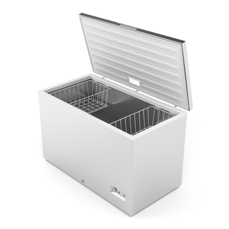 Silver freezer on white background Foto de archivo