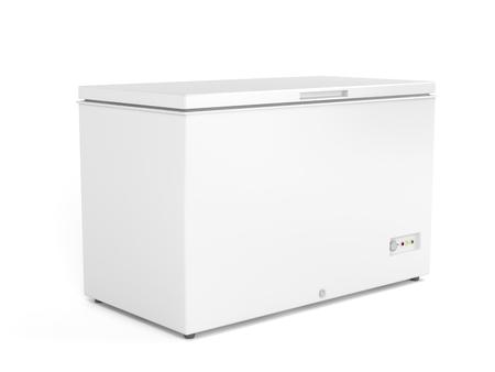 freezer: Chest freezer on white background Stock Photo