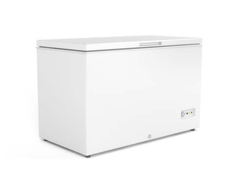 Chest freezer on white background Stockfoto
