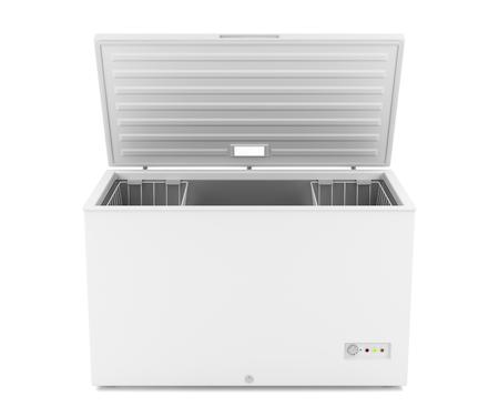 alimentos congelados: Abrir congelador horizontal sobre fondo blanco