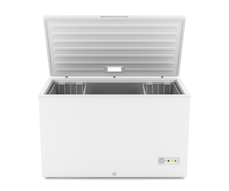 ice chest: Open chest freezer on white background