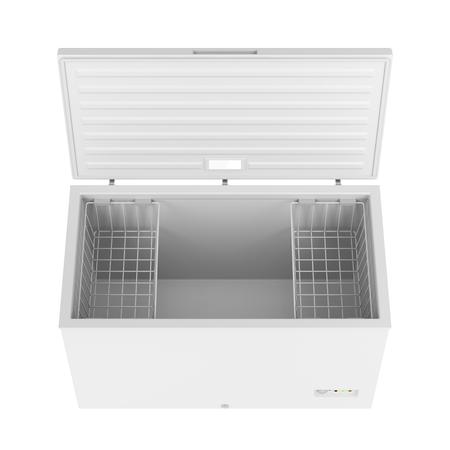 freezer: Open freezer isolated on white background Stock Photo