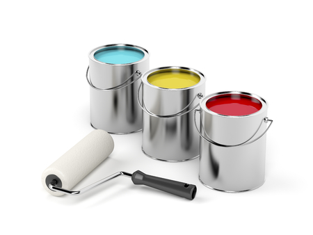 paint tin: Paint roller and paint canisters with yellow, turquoise and red paints Stock Photo