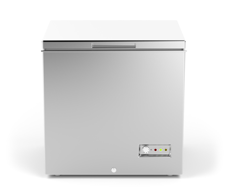 ice chest: Small chest freezer in silver color Stock Photo