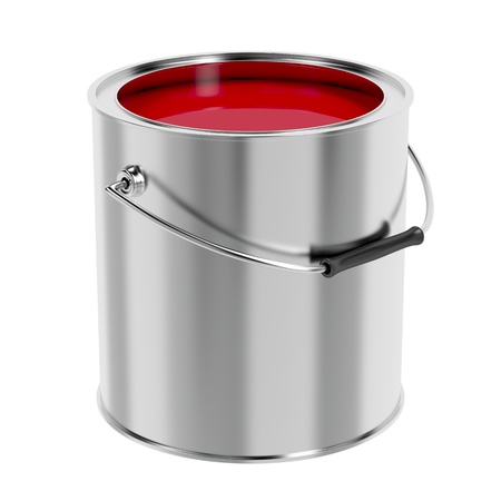 paint cans: Canister with red paint isolated on white background