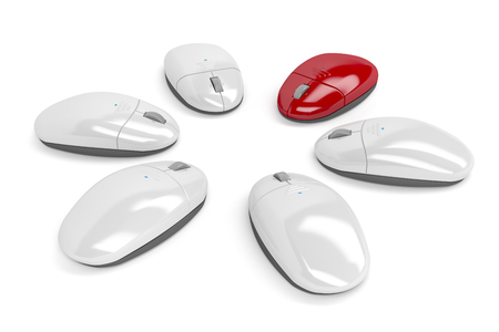periphery: Concept image with wireless computer mouses, one red among other white mouses