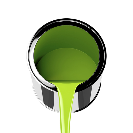 isolated on green: Pouring green paint from its can