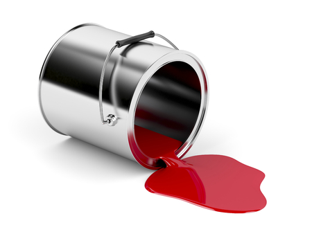 Red spilled paint from metal canister