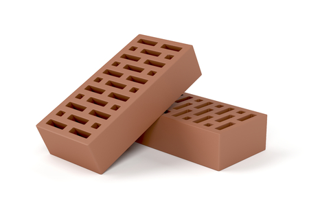 red clay: Two red clay bricks on white background