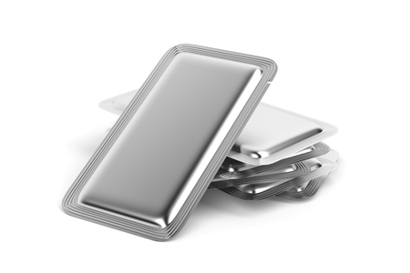 sachets: Silver foil sachets for for food, drinks, drugs, cosmetics and etc. Stock Photo