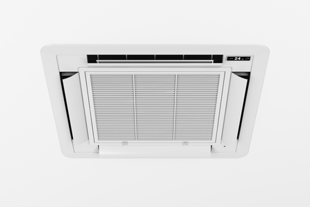 split: Ceiling mounted cassette type air conditioner Stock Photo
