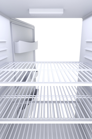 freezer: Inside view of an empty white fridge with open door