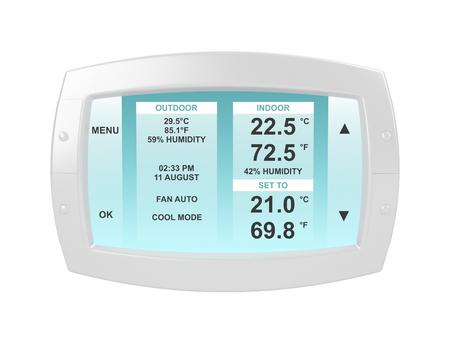 panel de control: termostato moderno aislado en el fondo blanco