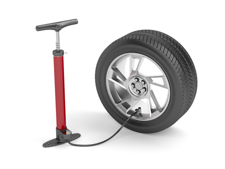 pneumatic tyres: Air pump and car tire on white background Stock Photo