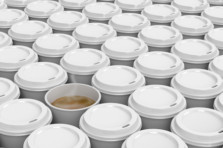 disposable cup: One opened coffee cup in multiple rows of plastic coffee cups Stock Photo