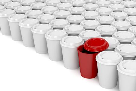 プラスチック製のコーヒー カップの複数の行に 1 つの別のコーヒー カップ 写真素材