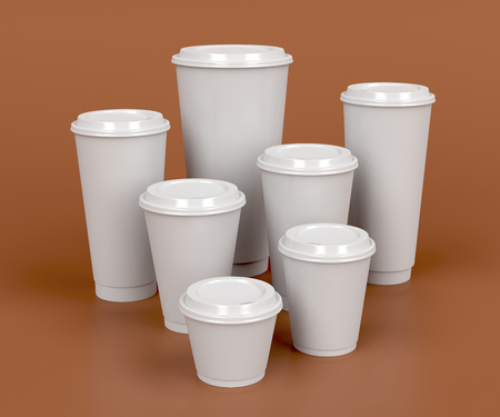 the sizes: Takeaway coffee cups with different sizes