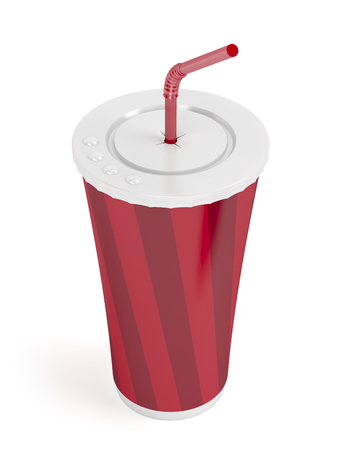 bendable: Fast food paper cup with red bendable straw