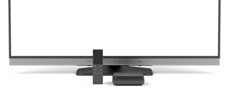 tv panel: Smart remote control with touch panel, digital media player and widescreen tv