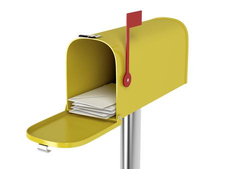 buzon: Caja amarilla con el correo aislado en el fondo blanco