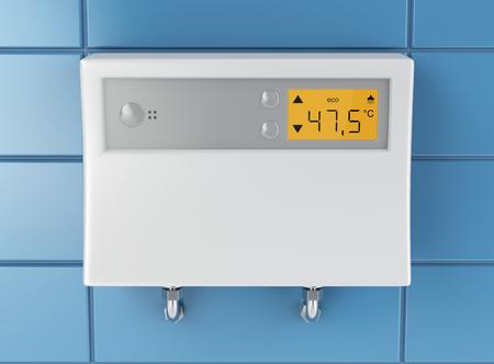 青いタイル張りの壁に接続されている自動給湯 写真素材