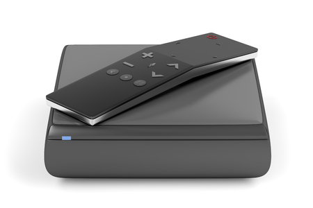 Digital media player with modern remote control with touch panel